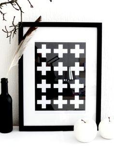 Tollet+Print+mit+weißen+Kreuzen+von+Petras+Ideenpurzelbäume++auf+DaWanda.com