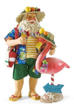 Drinking Buddy--Santa and his drinking buddy put on matching leis and fruit adorned hats before heading out to the beach to enjoy the day.
