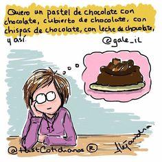 """645 Me gusta, 36 comentarios - Historias Cotidianas (@histcotidianas) en Instagram: """"Quiero un #pastel de #chocolate ... #antojo #hambre #dieta #fitness #dibujos #comics #viñeta…"""""""