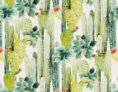 This magnificent life-size watercolor motif transports us into a colorful, offbeat South America. The colors, as well as the thorns of the cacti, are soft and appealing. They invite us to relax and enjoy a pleasant stroll in a desert where the sun caresses us and where the immensity's only purpose is to highlight the rare plants. The printed fabric which matches this wallpaper offers another design scale and a softer range of colors(F3080).