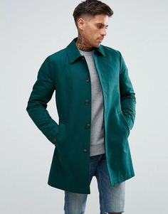 Teal Herringbone Mixed Media Military Coat | Plus size coats