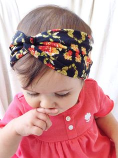 Black & red floral turban headband by turbansfortots on Etsy