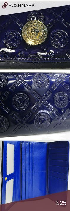 Blue Lion Embossed Wallet Inspired Roberto Cavalli Lion Embossed Wallet.  Patent leather blue with great detailing, plenty of storage can use for a wallet or clutch.   Not Roberto Cavalli only putting there for exposure Roberto Cavalli Bags Wallets