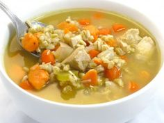 Yummy Turkey or Chicken Barley Soup...This is one of my family's favorite soups!!! The barley adds an amazing amount of fiber and the squash, carrots, celery and onions are loaded with vitamins. The skinny for 1 cup, 142 calories, 1 gram of fat, 5 grams of fiber and 3 Weight Watchers POINTS PLUS.