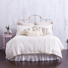 Bedding Designed in Shimmery Ivory-  Cream Ruffles and Gorgeous Rosettes - A Garden of Roses and Shimmering Ruffles! on Etsy, $365.00