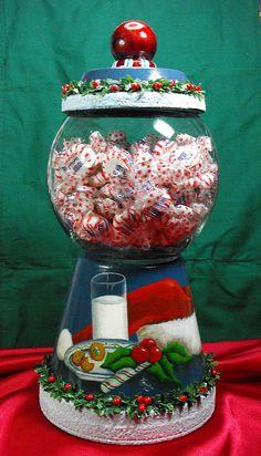 Painted terra cotta pot and glass bowl. Flower Pot Art, Clay Flower Pots, Flower Pot Crafts, Tree Crafts, Clay Pot Projects, Clay Pot Crafts, Holiday Crafts, Christmas Clay, Homemade Christmas