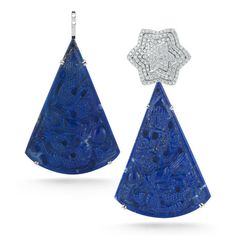 14k white gold earring extender with beautifully hand-carved lapis cut into a bold, triangle-shaped stone.