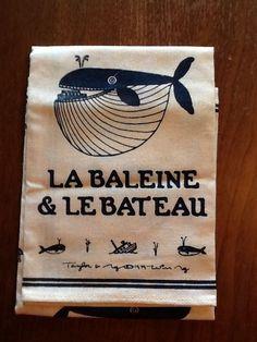 TAYLOR & NG La Baleine et le Bateau 1979 Whale & boat vintage hand towel MINT
