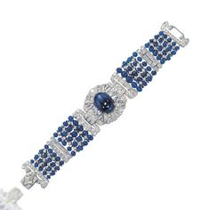 AN ART DECO SAPPHIRE AND DIAMOND BRACELET/CHOKER, BY TIFFANY & CO -  The bracelet designed as a central diamond-set circular-shaped panel centering upon a cabochon sapphire, extending five rows of sapphire beads and diamond detail, with additional link to wear as a choker, mounted in platinum, 1930s