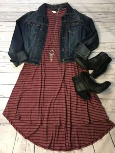 Style your Lularoe Carly Dress Modest Outfits, Modest Fashion, Casual Outfits, Cute Outfits, Fashion Outfits, Fall Winter Outfits, Spring Outfits, Jean Jacket Outfits, Church Outfits