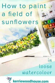 Wondering how to paint a field of sunflowers under a sunny sky in loose watercolour? Here's a video demonstration. Watercolor Paint Set, Watercolor Portraits, Watercolour Paintings, Watercolours, Watercolour Challenge, Watercolor Sketchbook, Your Paintings, Landscape Paintings, Step By Step Watercolor