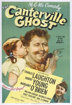 The American one-sheet movie poster for MGM's The Canterville Ghost (1944), starring Charles Laughton and Margaret O'Brien.