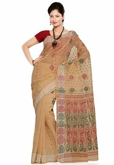 Cream Colored Tangail Cotton Saree