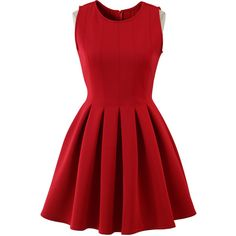 Chicwish Favored Sleeveless Skater Dress in Red (240 BRL) ❤ liked on Polyvore featuring dresses, red, vestidos, red dress, red day dress, pleated skater dress, skater dress and no sleeve dress