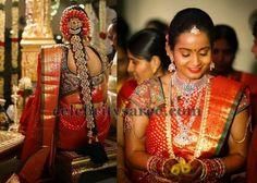 Bride in Gold Polka Dots Saree