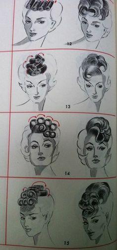 Vintage Hairstyles Tutorial, 1940s Hairstyles, Sixties Hair, 1960s Hair, Vintage Makeup, Pelo Vintage, Retro Updo, Hair Patterns, Hair Setting