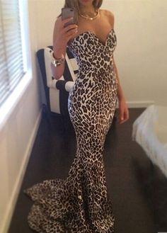 wholesale Leopard Print Sweetheart Neck Sleeveless Mermaid Dress Pretty Dresses, Sexy Dresses, Prom Dresses, Dress Prom, Bridesmaid Dresses, Bodycon Dress, Vogue Dresses, Bridesmaids, Party Dress