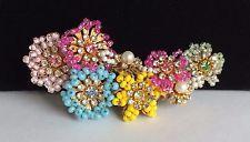 Vintage Miriam Haskell Brooch Pin~MultiColor-Seed Beads/RS/Pearls/Gilt Filigree
