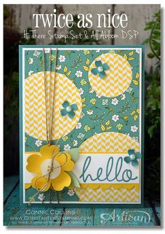 """Cheery And Colorful """"Hello"""" Card...Connie Collins:  Constantly Stamping."""