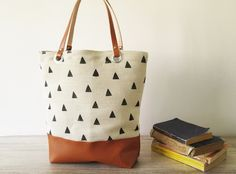 Canvas Tote bag  Hand stamped  Geometry Triangles Book by byMART
