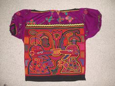 Mola Blouse Kuna Indians Colorful Birds Flowers Cup 3 Layers 7   eBay