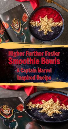 Go Higher Further Faster with The Geeks' latest recipe inspired by Marvel Studios' Captain Marvel, Higher Further Faster Smoothie Bowls! Crockpot Recipes, Soup Recipes, Juice Recipes, Steak Recipes, Potato Recipes, Casserole Recipes, Pasta Recipes, Chicken Recipes, Vegetarian Recipes