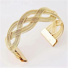 USA Seller Gorgeous Thick Modern Weaved Woven Twisted Twist Brade Braded Cuffed Wide Cuff Wrist or Arm Bracelet 14k Yellow Gold Filled Adjustable Retail Value $600.00. Starting at $1
