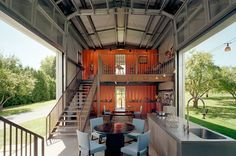 New Jersey architect Adam Kalkin designed and build his own house from  recycled shipping containers. Among many reasons to do that there is  price( a used one costs under $1000 ) and durability.
