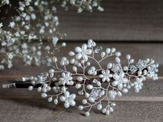 Bridal pearl crystal side tiara, vintage wedding floral vine headpiece…