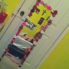 Simple $5 mirror revamped with flowers and sparkles!!