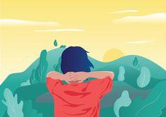 Le soleil se lèvera de nouveau demain #sunset #graphic #design #illustration #vector #woman #red #landscape #hills #sky #dream #thought #hope #alone Illustration Vector, Alone, Land Scape, Disney Characters, Fictional Characters, Disney Princess, Art, Sunrise, Chart
