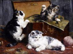 Kittens at Play by Charles Van den Eycken | Art Posters & Prints