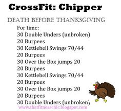 CrossFit Wod: Death Before Thanksgiving: double unders, burpees, kettlebell swings, box jumps. Crossfit Wods, Crossfit At Home, Crossfit Motivation, Crossfit Baby, Crossfit Chicks, Training Fitness, Kettlebell Training, Fitness Tips, Kettlebell Cardio