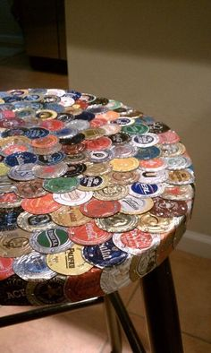 DIY Furniture Plans & Tutorials : Bottlecap stoolhere's soething we could do with our gazillion bottle cap