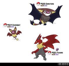 019, 020, 021: Dark Bat Fakemon by ~LeafyHeart on deviantART