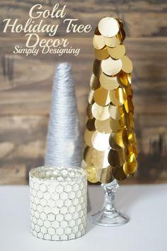 Simple Modern Gold Holiday Tree Decor idea