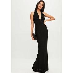 Missguided Plunge Slinky Backless Maxi Dress ($48) ❤ liked on Polyvore featuring dresses, black, plunge maxi dress, backless dress, maxi length dresses, backless plunge dress and stretch maxi dress