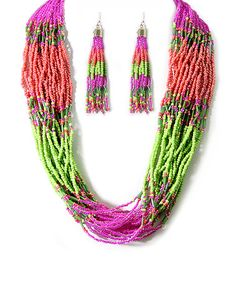 Green & Pink Seed Bead Necklace & Earrings #zulily #zulilyfinds