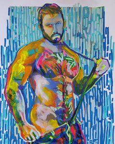 Snap by RD Riccoboni acrylic painting. #rdriccoboni #portrait #gayillustration #gayart #musclebear #gayboyswithbeards #beardporn #lumbersexual #artstudio