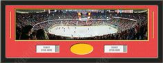 One framed large Calgary Flames stadium panoramic with openings for one or two ticket stubs* and one or two 4 x 6 inch personal photos**, double matted in team colors to 39 x 13.5 in.  The lines show the bottom mat color.  $189.99 @ ArtandMore.com