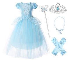 JerrisApparel Girls Princess Costume Puff Sleeve Fancy Birthday Party Dress up Blue with Accessories) Princess Flower Girl Dresses, Disney Princess Dresses, Cinderella Princess, Princess Costumes, Fancy Birthday Party, Fancy Party, Cute Dresses, Girls Dresses, Costume Dress