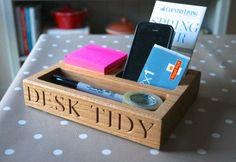 Personalised engraved solid oak Desk Tidy (organiser) for Sale at Bouf Buy Gifts Online, Online Gift Shop, Solid Oak Desk, Desk Tidy, Office Items, Wooden Desk, Wooden Gifts, Desk Organization, Desk Accessories