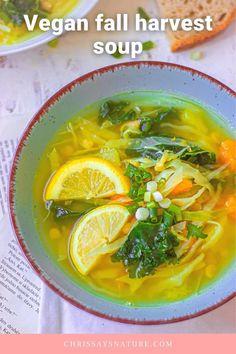Vegan fall harvest soup Vegan Stew, Vegetarian Soup, Vegan Soups, Fall Recipes, Soup Recipes, Vegan Recipes, Fall Harvest, Autumn, Gluten Free Soup