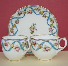 Porcelain-Trio-Coffee-Cup-Tea-Cup-Saucer-mid-19thc