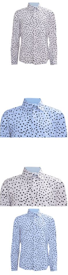 Fashion White Light blue New Fashion Polka Dot Printed Long Sleeve Cotton Slim Fit French Cuff Casual Male Shirt Clothes L