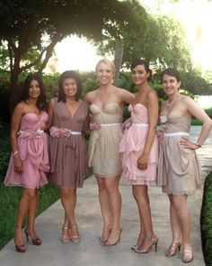 "THE BRIDESMAIDS   5 of 17  Maids, in Sarah Seven frocks, walked up the aisle to an acoustic version of the Beach Boys' ""California Girls""; the longtime friends surprised Anne with a pair of nude Christian Louboutin peep-toes, which she wore after the ceremony."