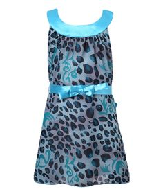 Blue Leopard Yoke Dress - Toddler & Girls by Richie House #zulily #zulilyfinds