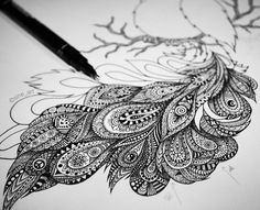 """Sine Hagestad on Instagram: """"Working on a zentangle peacock right now ✒️⭐️"""""""