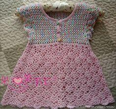 Crochet Knitting Handicraft: Dress girls
