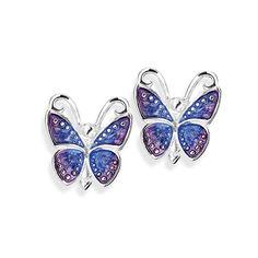 Flying Purple, Schmetterling Ohrstecker aus Silber mit Brandlack.
